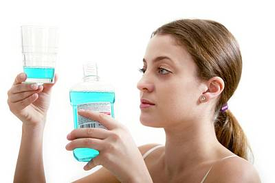 Routine Photograph - Teenage Girl With Mouthwash by Lea Paterson
