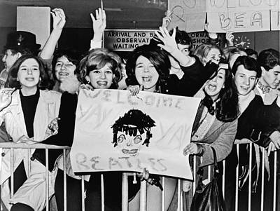 Rock Stars Photograph - Teenagers Welcome The Beatles by Underwood Archives