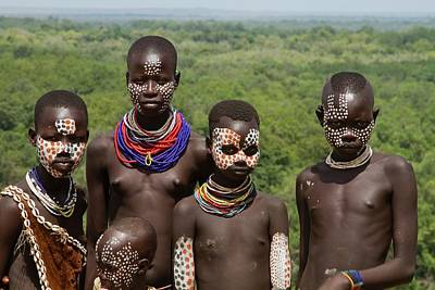 Bare Breasts Photograph - Teens And Children Of The Karo Tribe by Photostock-israel