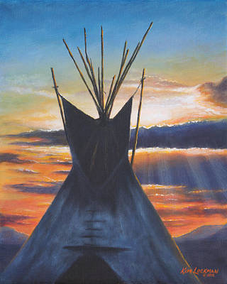 Art Print featuring the painting Teepee At Sunset Part 1 by Kim Lockman