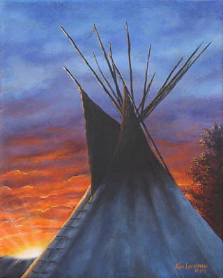 Art Print featuring the painting Teepee At Sunset Part 2 by Kim Lockman
