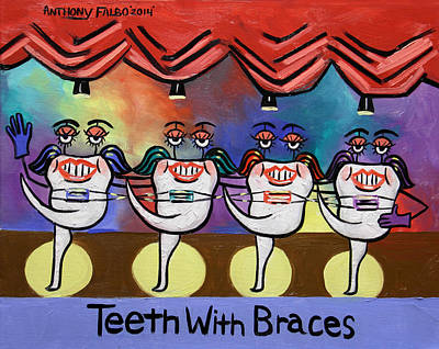 Cards Digital Art - Teeth With Braces Dental Art By Anthony Falbo by Anthony Falbo