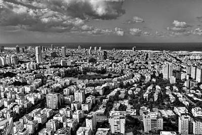Art Print featuring the photograph Tel Aviv Center Black And White by Ron Shoshani