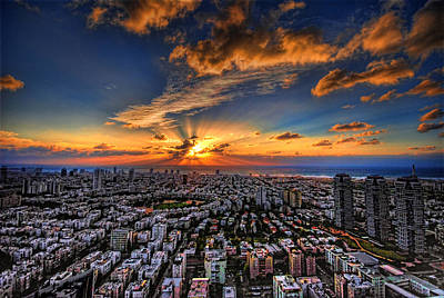 Golden Digital Art - Tel Aviv Sunset Time by Ron Shoshani