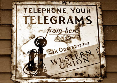 Antique Telephone Photograph - Telegram From Here by David Lee Thompson