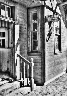Train Depot Photograph - Telegraph And Cable Office Bw by Mel Steinhauer