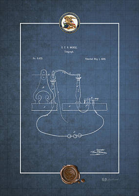 Digital Art - Telegraph By S.f.b. Morse - Vintage Patent Blueprint by Serge Averbukh