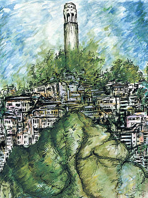 Painting - Telegraph Hill San Francisco - Watercolor by Peter Potter
