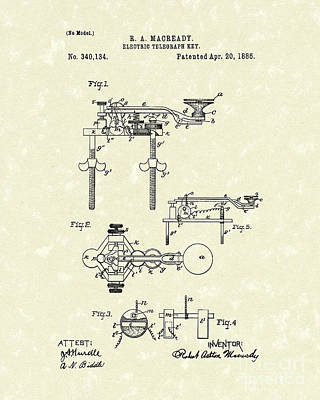 Drawing - Telegraph Key 1886 Patent Art by Prior Art Design