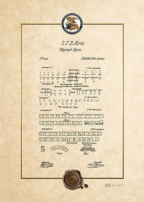 Digital Art - Telegraph Signs By S.f.b. Morse - Morse Code - Vintage Patent Document by Serge Averbukh