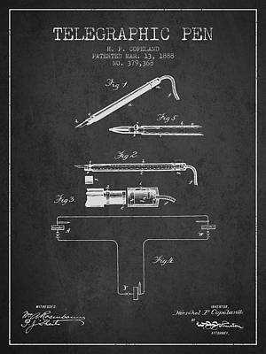 Telegraphic Pen Patent From 1888 - Charcoal Art Print