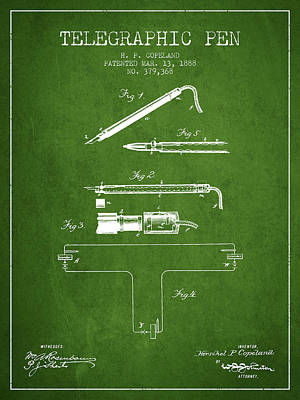 Telegraphic Pen Patent From 1888 - Green Art Print by Aged Pixel