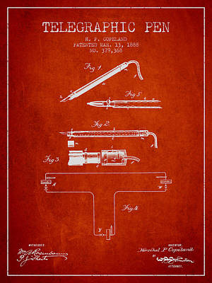 Telegraphic Pen Patent From 1888 - Red Art Print