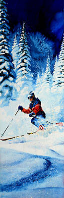 Skiing Action Painting - Telemark Trails by Hanne Lore Koehler