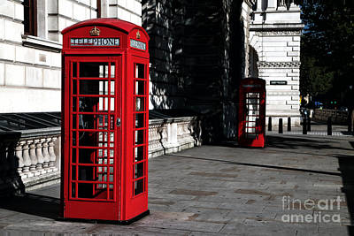 London Phone Booth Photograph - Telephone Booths by John Rizzuto