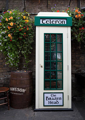 Historic Buildings Images Photograph - Telephone Kiosk, The Brazen Head Pub by Panoramic Images