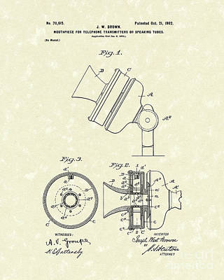Drawing - Telephone Mouthpiece 1902 Patent Art by Prior Art Design