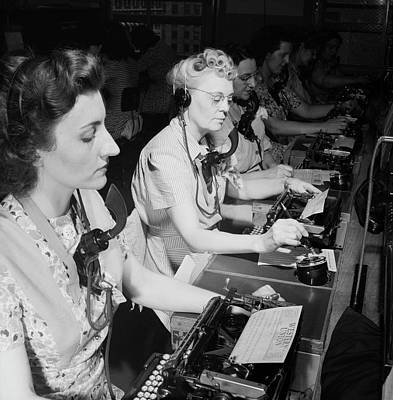 Typewriter Photograph - Telephone Operators by Library Of Congress