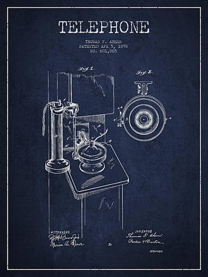 Thomas Kinkade - Telephone Patent Drawing From 1898 - Navy Blue by Aged Pixel