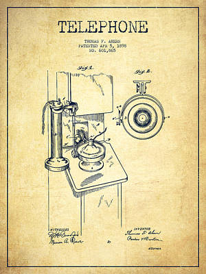 Technical Digital Art - Telephone Patent Drawing From 1898 - Vintage by Aged Pixel