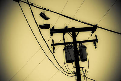 Duo Tone Photograph - Telephone Pole And Sneakers 1 by Scott Campbell