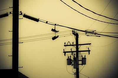 Duo Tone Photograph - Telephone Pole And Sneakers 4 by Scott Campbell