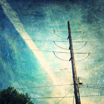 Telephone Poles Digital Art - Telephone Pole And Wide Contrail by Amy Cicconi