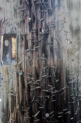 Photograph - Telephone Pole With Scars From The Past by Denise Dube