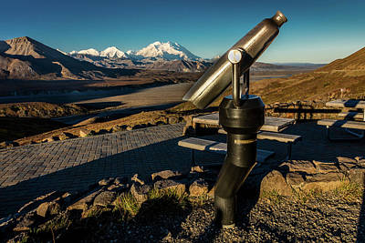 Telescopic Image Photograph - Telescope And Mount Denali In Distance by Panoramic Images