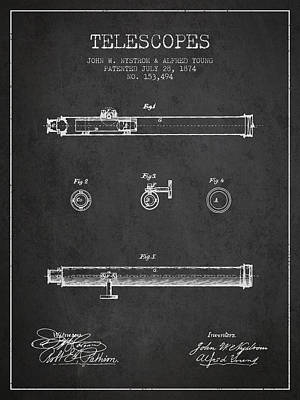 Astronomical Digital Art - Telescope Patent From 1874 - Dark by Aged Pixel