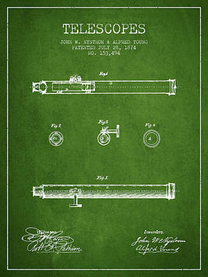 Astronomical Digital Art - Telescope Patent From 1874 - Green by Aged Pixel