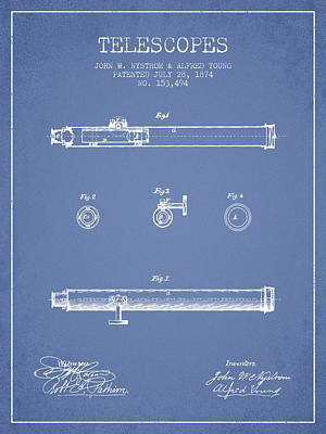 Astronomical Digital Art - Telescope Patent From 1874 - Light Blue by Aged Pixel