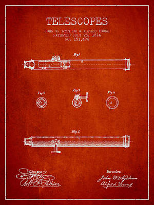 Astronomical Digital Art - Telescope Patent From 1874 - Red by Aged Pixel