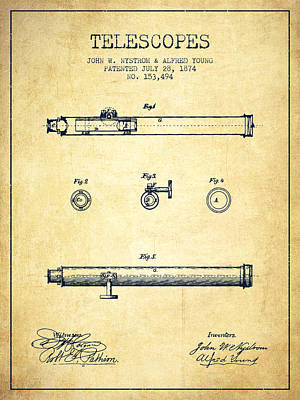 Astronomical Digital Art - Telescope Patent From 1874 - Vintage by Aged Pixel