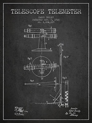 Astronomical Digital Art - Telescope Telemeter Patent From 1916 - Charcoal by Aged Pixel