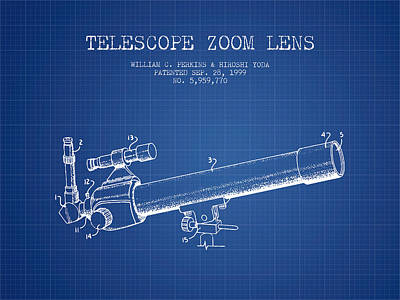 Astronomical Digital Art - Telescope Zoom Lens Patent From 1999 - Blueprint by Aged Pixel