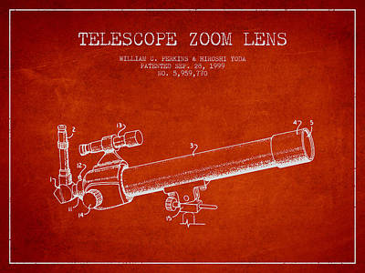 Astronomical Digital Art - Telescope Zoom Lens Patent From 1999 - Red by Aged Pixel