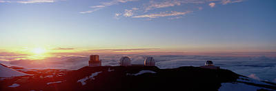 Telescopes On Mauna Kea At Sunset Art Print by Panoramic Images