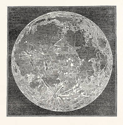 Telescopic Image Drawing - Telescopic Appearance Of The Moon 1833 by English School