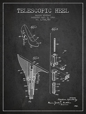 Footwear Digital Art - Telescopic Heel Patent From 1960 - Dark by Aged Pixel