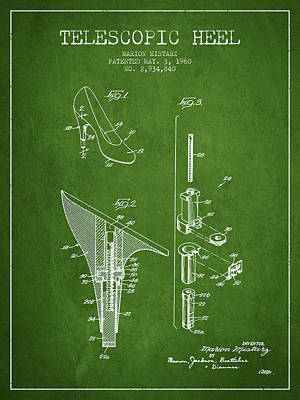 Shoe Laces Digital Art - Telescopic Heel Patent From 1960 - Green by Aged Pixel