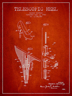 Shoe Laces Digital Art - Telescopic Heel Patent From 1960 - Red by Aged Pixel