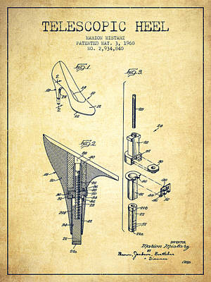 Telescopic Heel Patent From 1960 - Vintage Art Print by Aged Pixel