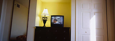 Television And Lamp In A Hotel Room Art Print