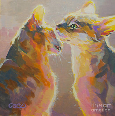 Cat Art Painting - Telling Secrets by Kimberly Santini