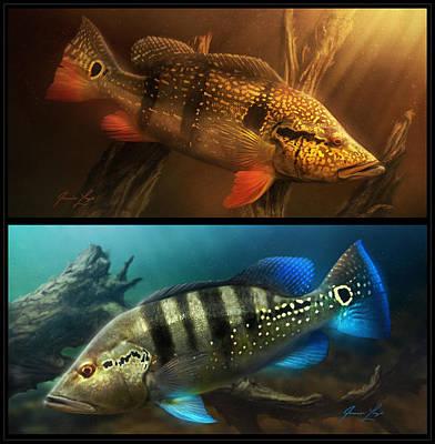 Fish Underwater Digital Art - Temensis_azul_combo_01 by Javier Lazo