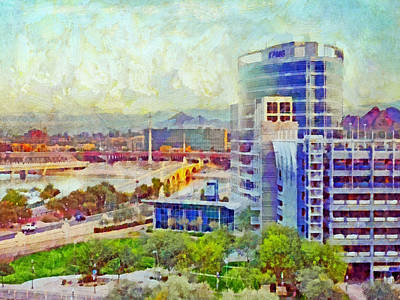 Digital Art - Tempe Arizona Skyline In The Early Morning by Digital Photographic Arts