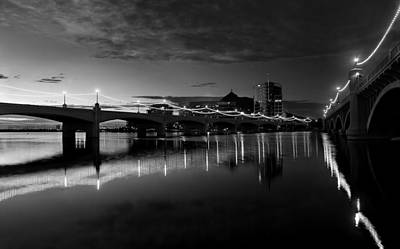 Photograph - Tempe Town Lake In Black And White by Dave Dilli