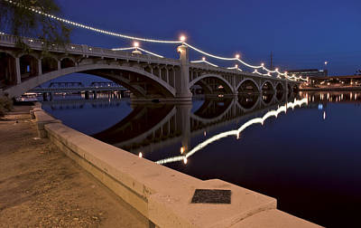 Reflection Photograph - Tempe Town Lake Lights by Dave Dilli