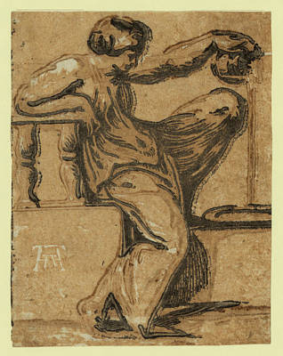 Pouring Wine Drawing - Temperance, Between 1540 And 1560. Vicentino by Andreani, Andrea (1540-1623), Italian